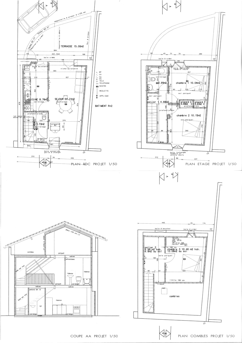 Plan architecte maison de ville maison moderne for Architecte plan de maison